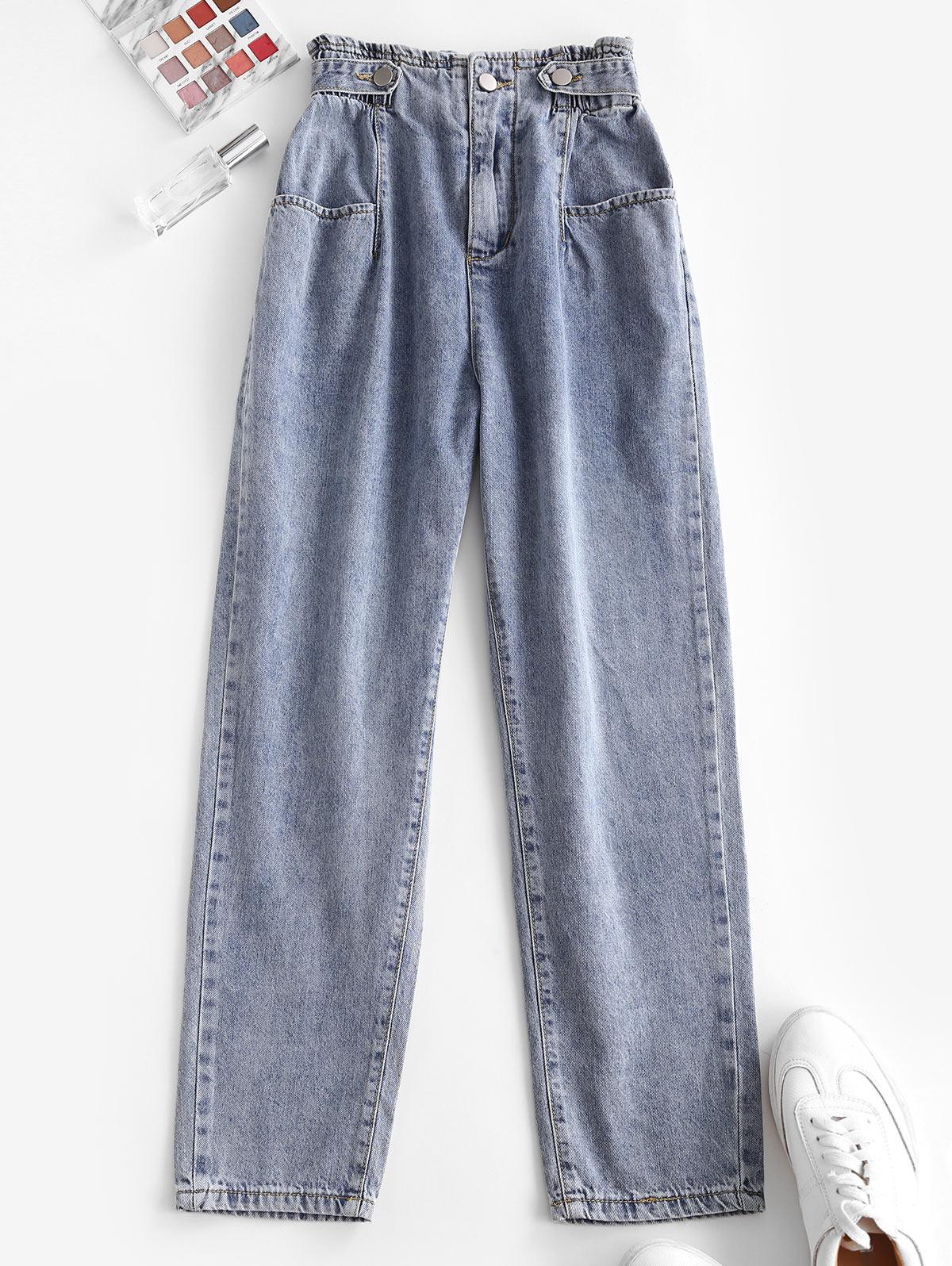 High Waist Pockets Tapered Jeans