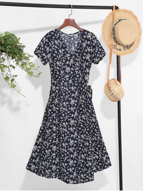 outfits Tiny Floral Print A Line Wrap Dress - DEEP BLUE XL