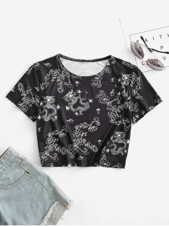 trendy Oriental Floral Dragon Print Crop Tee - BLACK XL