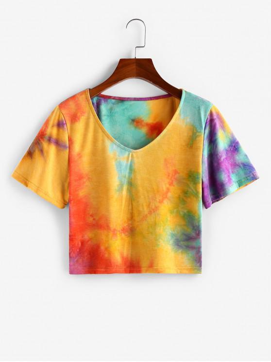 shops ZAFUL Tie Dye V Neck Casual T-shirt - DEEP YELLOW XL