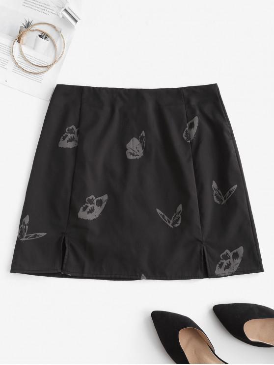 Mini Falda con Corte Frontal y Estampado de Mariposa - Negro S