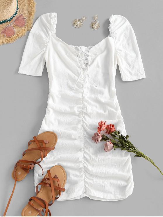 fashion Gathered Puff Sleeve Lace Up Mini Dress - WHITE S