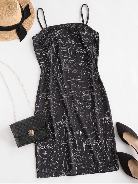 ZAFUL Bodycon Figur Camisole Kleid mit Gürtel - Schwarz XL