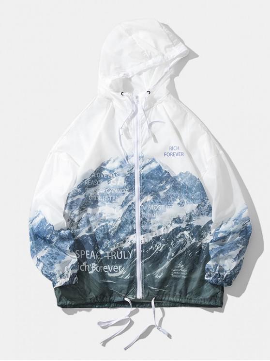Chaqueta Ligero Capucha de Montaña de Nieve - Blanco M