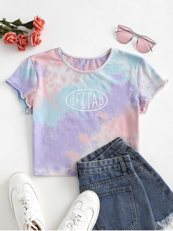 chic Letter Graphic Tie Dye Cropped Tee - LIGHT PURPLE S
