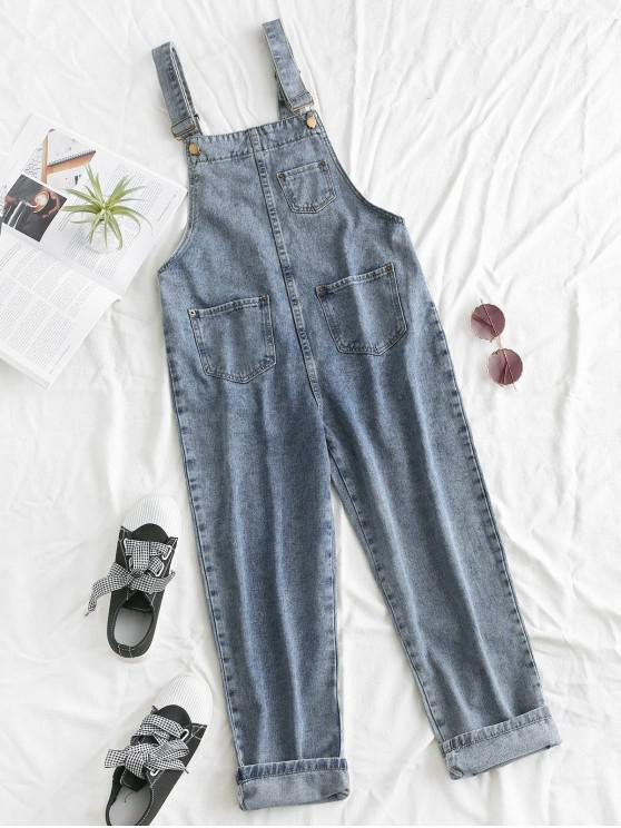 women Front Pockets Denim Overalls - BLUE XL