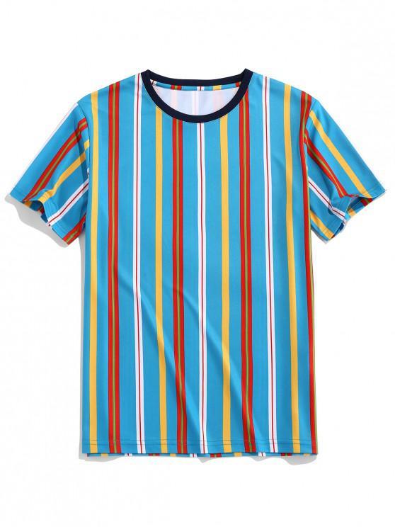 ZAFUL縦縞ラウンドネックTシャツ - 青 S