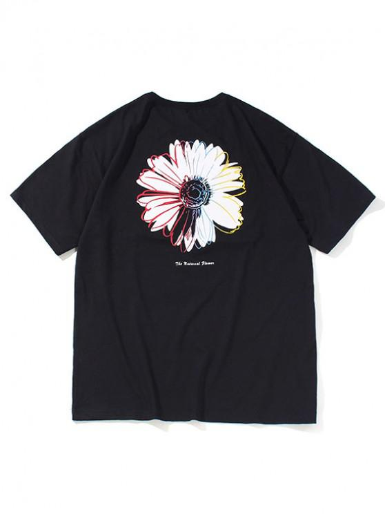 unique Flower Letter Pattern Basic T-shirt - BLACK XS