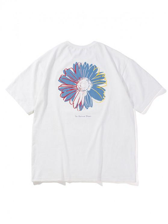 womens Flower Letter Pattern Basic T-shirt - WHITE S