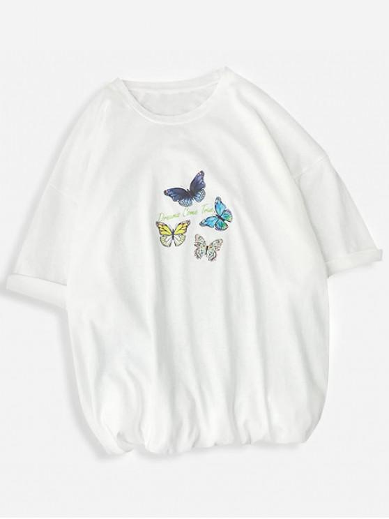 Dream Come True Butterfly Print Basic T-shirt - أبيض M