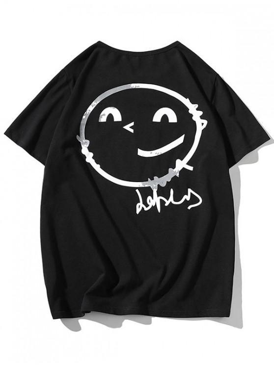 Strichmännchen Schulter Kurzarm T-Shirt - Schwarz XS