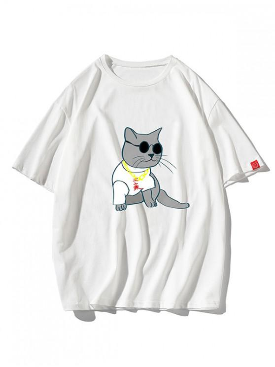 Rich Cat Graphic Lounge Drop Shoulder T Shirt - أبيض M