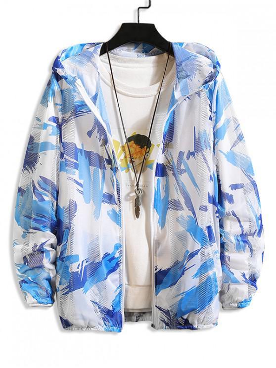 lady Paint Pattern Mesh Sunproof Hooded Jacket - BLUE XS