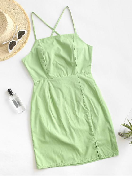 fancy Tie Back Slit Criss Cross Mini Dress - LIGHT GREEN S