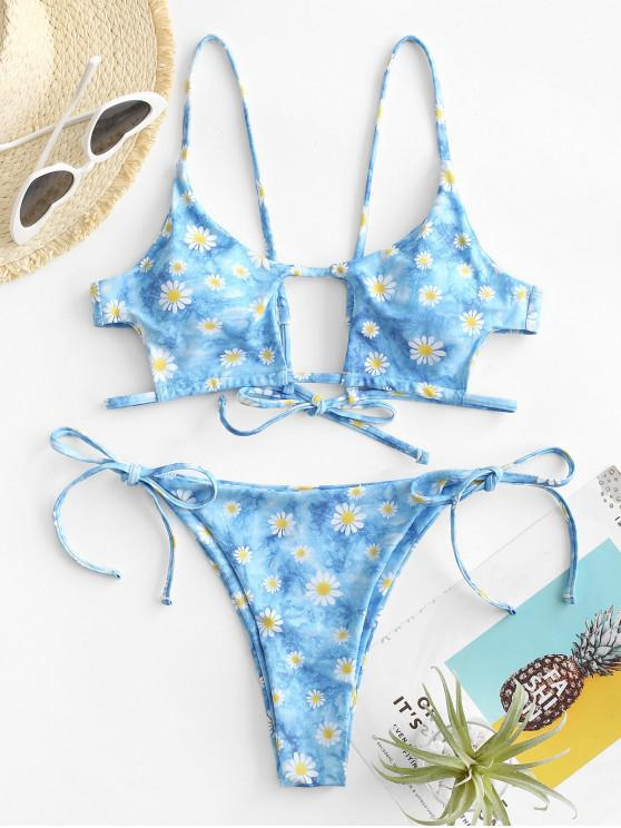 fashion ZAFUL Tie Dye Daisy Print Cutout Tanga Bikini Swimwear - LIGHT BLUE L