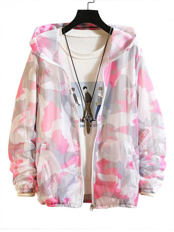 buy Camouflage Letter Print Sunproof Mesh Hooded Jacket - PINK XS