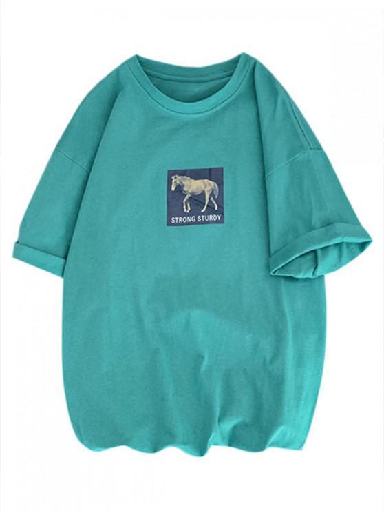 馬の安定した印刷定番Tシャツ - ダークターコイズ M