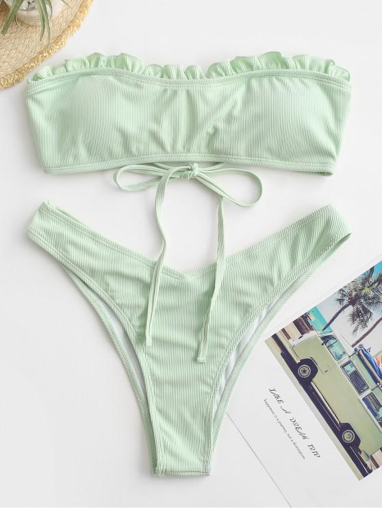 Bikini Bandeau de Corte Alto con Volantes ZAFUL - Verde Menta S