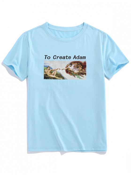 sale ZAFUL Create Adm Renaissance Print Basic T-shirt - LIGHT BLUE XL