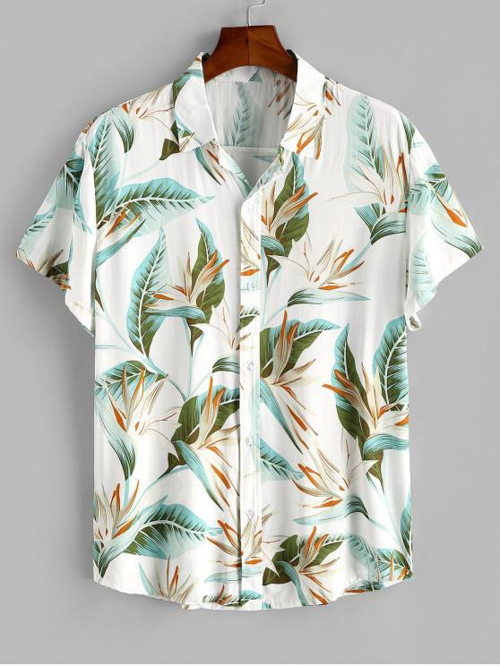Flower Print Button Up Slim Hawaii Shirt - أبيض 3XL