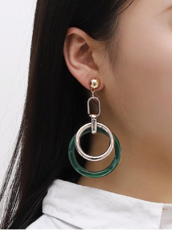 sale Double Circular Drop Earrings - GOLDEN