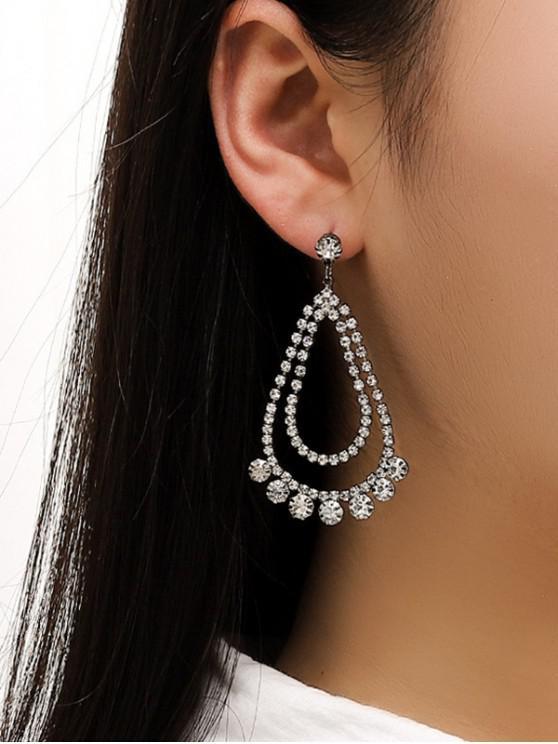 unique Rhinestone Water Drop Wedding Earrings - SILVER
