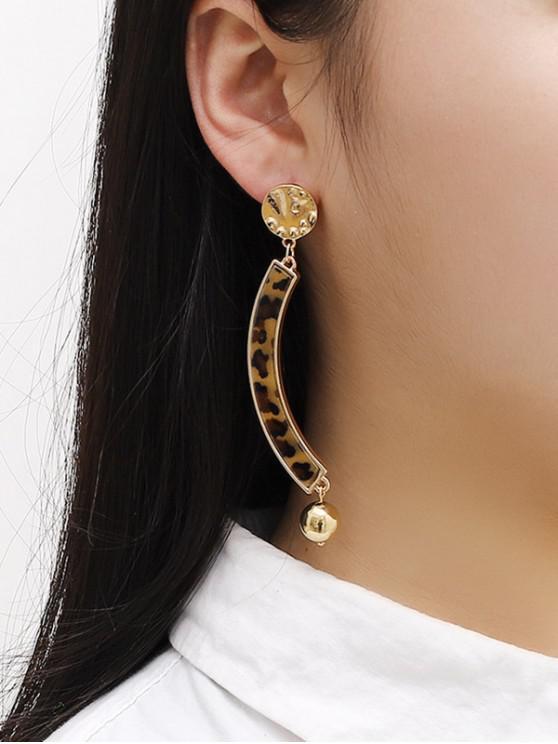 chic Leopard Arcuate Stud Drop Earrings - GOLDEN