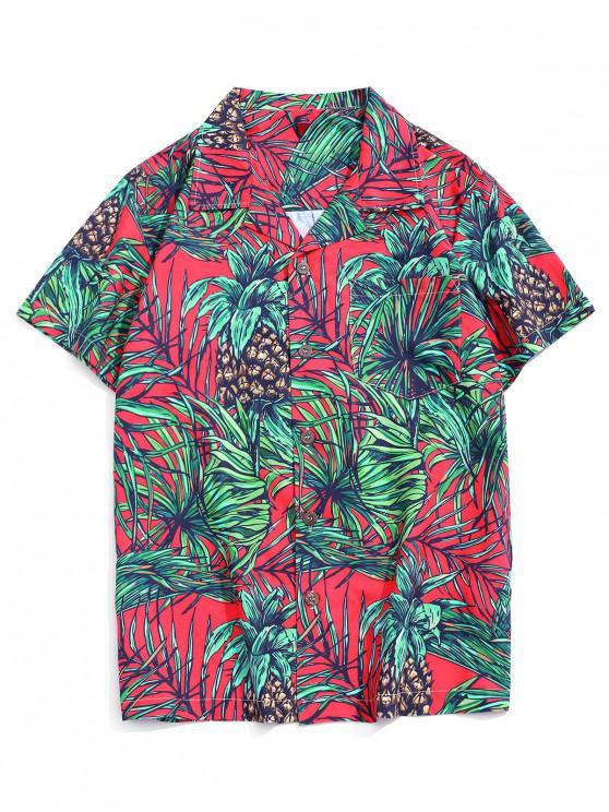 Camisa Manga Larga Estampado Hoja Tropical Bolsillo - Multicolor-B L