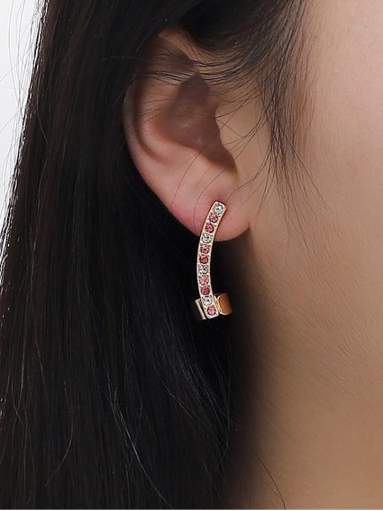 trendy Arc Mixing Color Rhinestone Earrings - GOLDEN