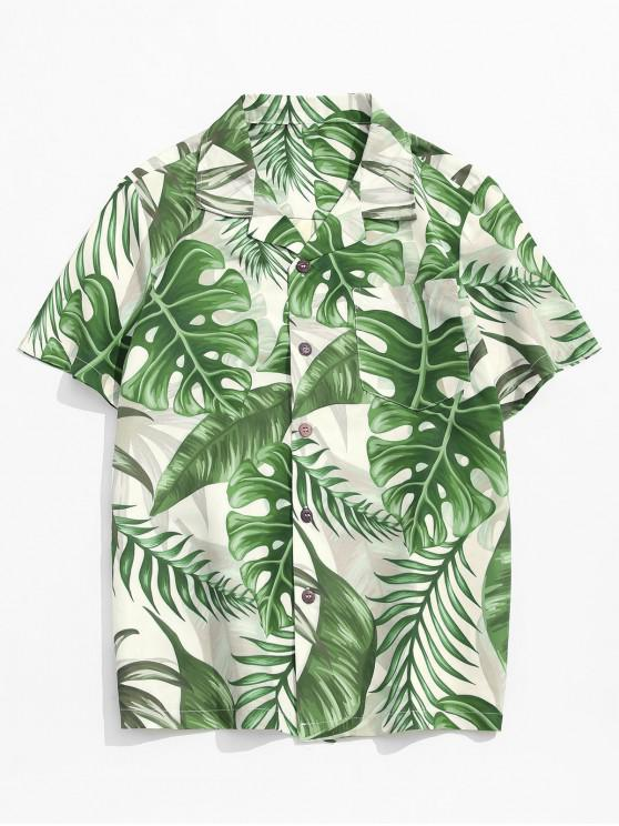 trendy Tropical Leaf Print Hawaii Pocket Button Up Shirt - MULTI 2XL