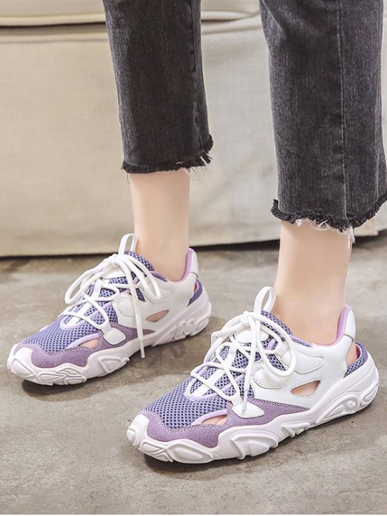Patchwork Lace Up Sports Sandals - بيربل جمشت الاتحاد الأوروبي 40