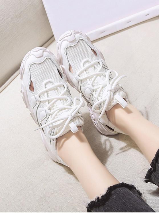 women Patchwork Lace Up Sports Sandals - BEIGE EU 40