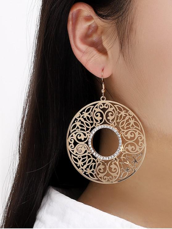 womens Alloy Hollow Out Round Drop Earrings - GOLDEN