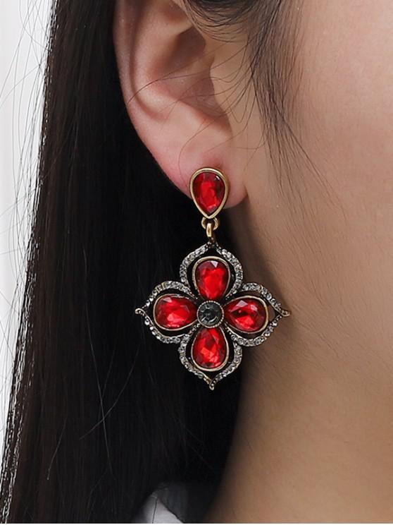 women Flower Shape Baroque Drop Earrings - RED WINE