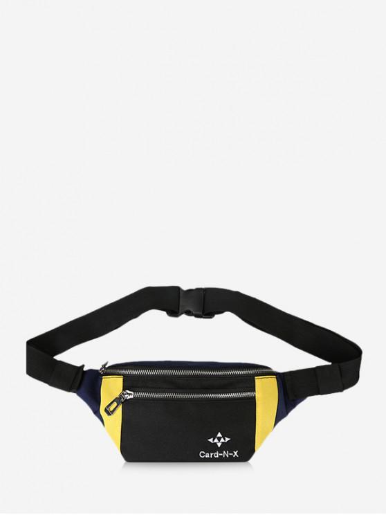 hot Colorblock Zipper Adjustable Bum Bag - BLACK