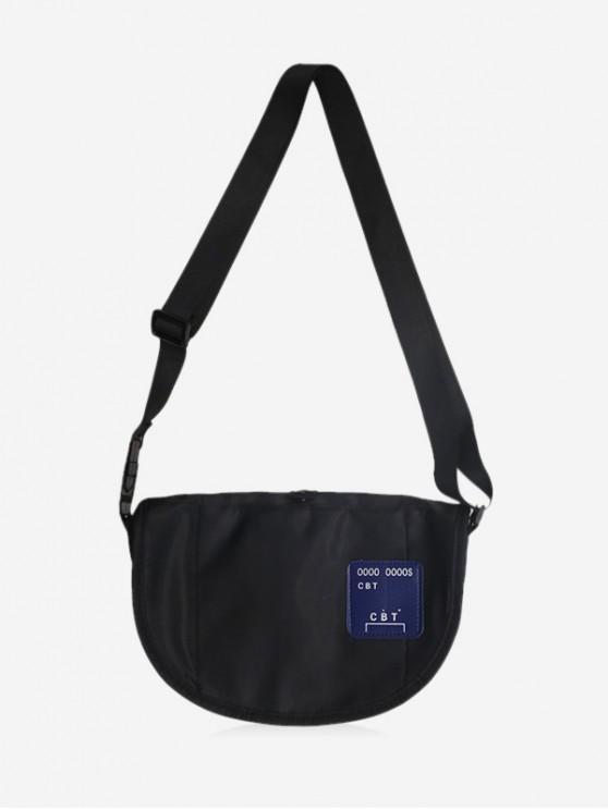 lady Casual Half Moon Crossbody Bag - BLACK