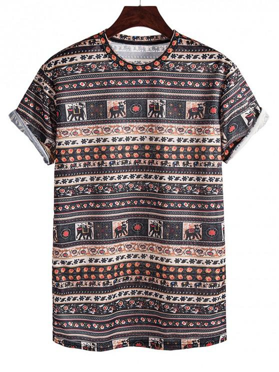 unique Elephant Seamless Pattern Rolled Sleeve Crew Neck T Shirt - SEPIA 3XL