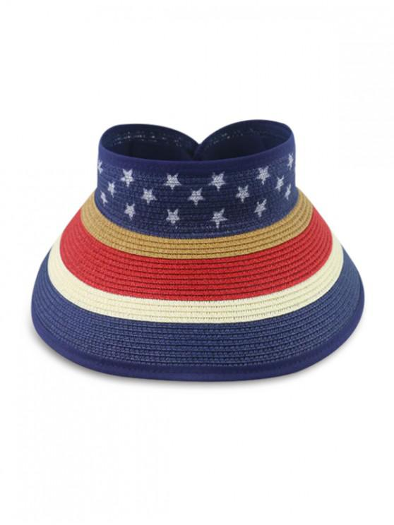 latest Star And Striped Foldable Visor Straw Hat - BLUE