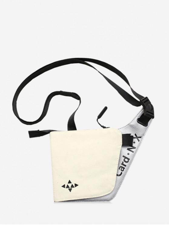 new Triangle Letter Print Small Couple Shoulder Bag - WHITE
