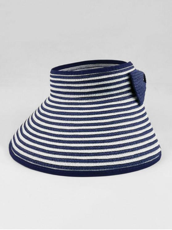 affordable Bowknot Striped Foldable Sun Visor Straw Hat - DEEP BLUE