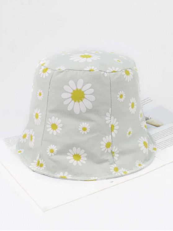 womens Daisy Pattern Cotton Bucket Hat - GREEN