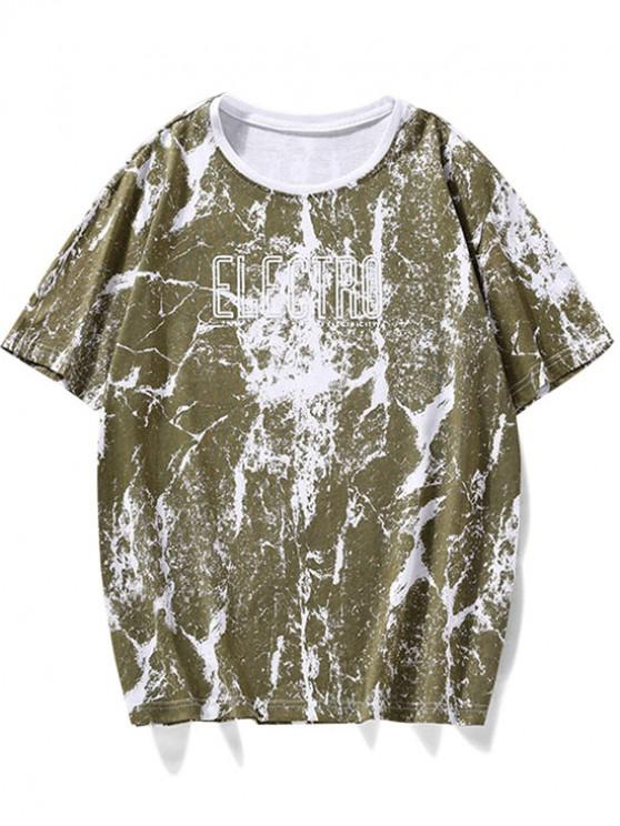 women Casual Letter Marble Print T Shirt - PINE GREEN XS