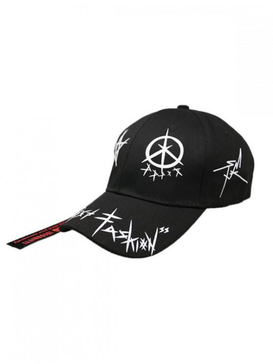 affordable Star Grafitti Print Adjustable Baseball Cap - BLACK