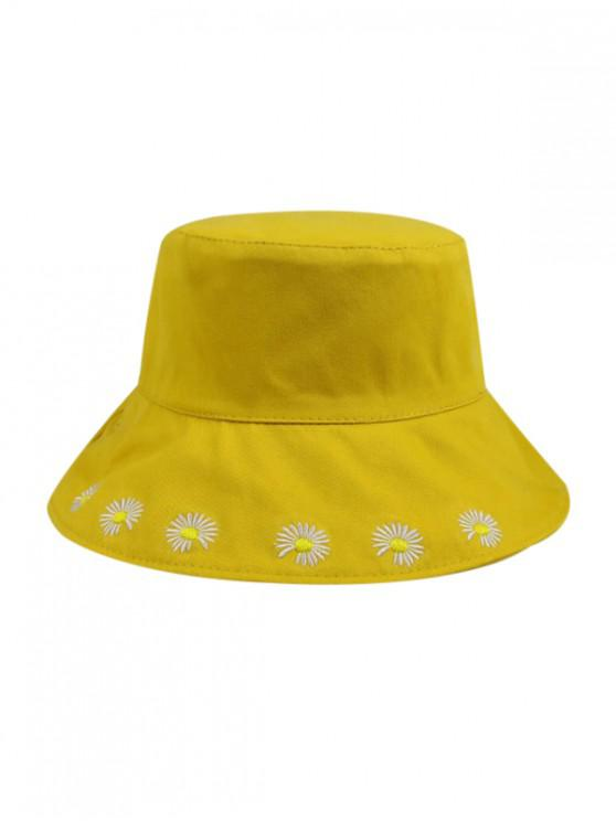 women Daisy Embroidery Bucket Hat - YELLOW