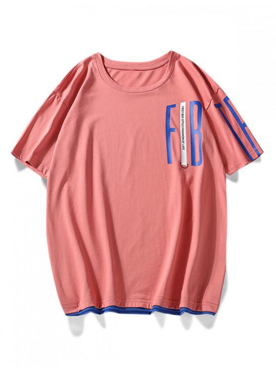 fancy Contrast Brim Letter Print T Shirt - ROSE RED L