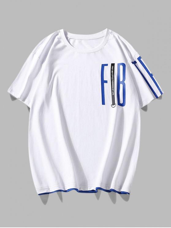 shops Contrast Brim Letter Print T Shirt - WHITE 2XL