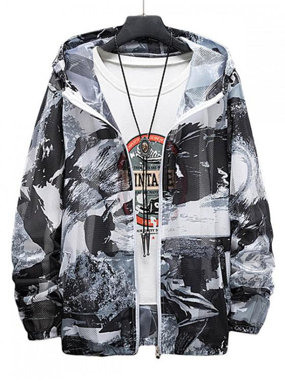 outfit Paint Print Sunproof Mesh Hooded Jacket - GRAY M