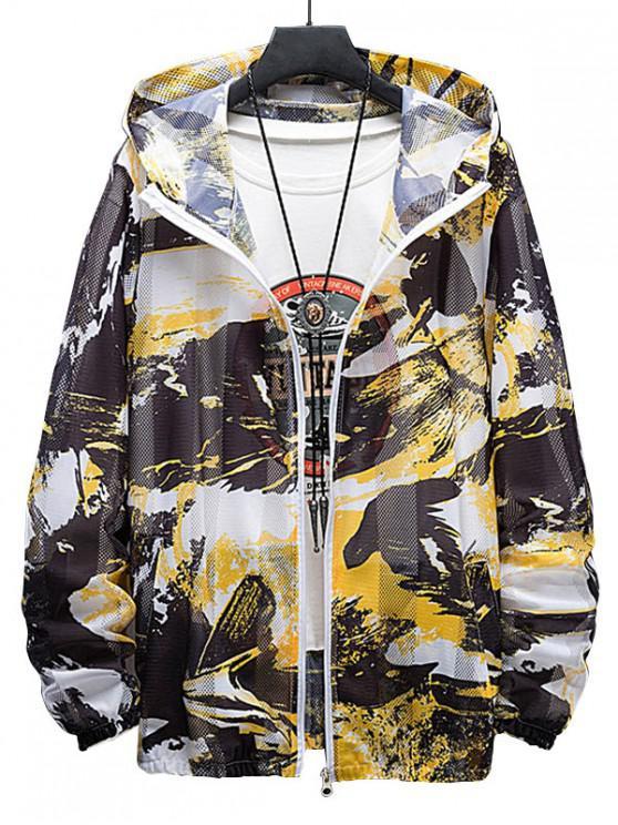 buy Paint Print Sunproof Mesh Hooded Jacket - YELLOW M