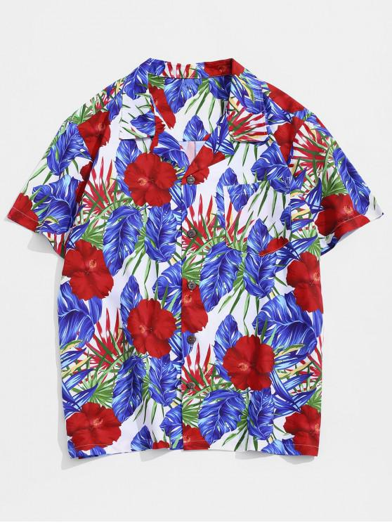 online Wildflower Print Pocket Hawaii Button Up Shirt - MULTI XS