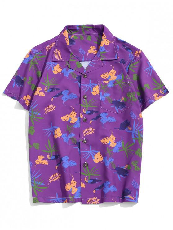 women's Tropical Plant Print Pocket Vacation Shirt - MULTI-A XS
